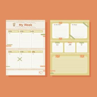 Conjunto de modelos de planejador de diário com marcadores