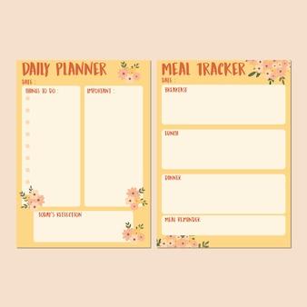 Conjunto de modelos de planejador diário de primavera fofo e rastreador de refeições com fundo amarelo alaranjado divertido e flores