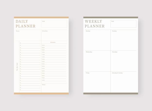 Conjunto de modelos de planejador diário e semanal conjunto de planejador e lista de tarefas conjunto de modelos de planejador moderno