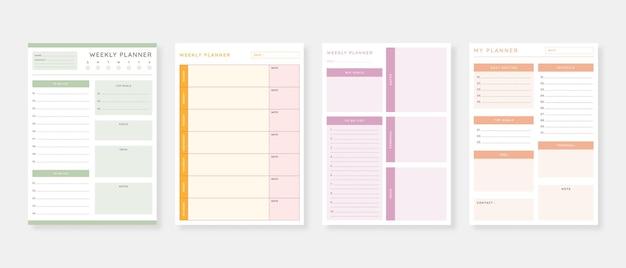 Conjunto de modelos de planejador moderno conjunto de planejador e lista de tarefas modelo de planejador diário semanal mensal ilustração vetorial
