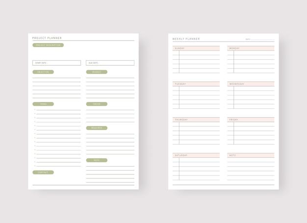 Conjunto de modelos de planejador moderno conjunto de planejador e lista de tarefas projeto e modelo de planejador de metas