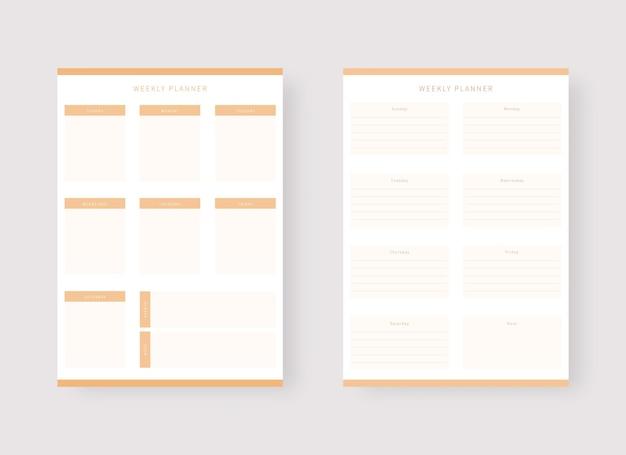 Conjunto de modelos de planejador semanal conjunto de planejador e lista de tarefas conjunto de modelos de planejador moderno