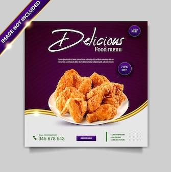 Conjunto de modelos de pós-design de banner de promoção de mídia social de alimentos de luxo