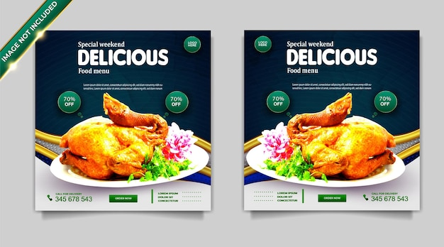Conjunto de modelos de post de banner de promoção de mídia social de alimentos de luxo