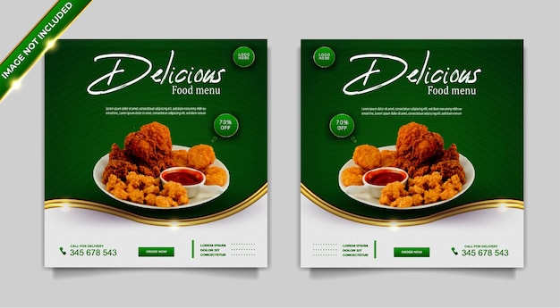 Conjunto de modelos de post design de banner de promoção de mídia social de alimentos de luxo