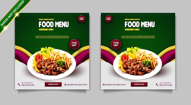 Conjunto de modelos de post instagram de menu de comida quente e fresca especial de luxo