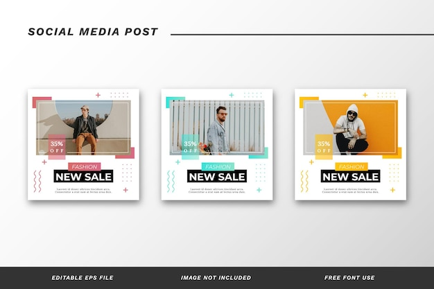 Conjunto de modelos de postagem de mídia social de moda