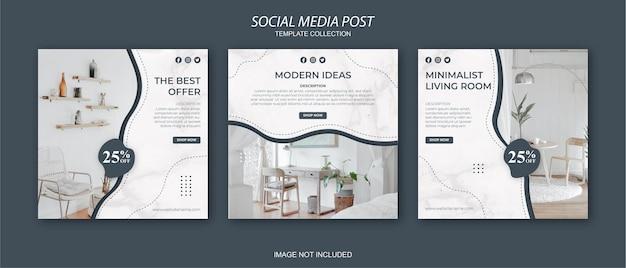Conjunto de modelos de postagem de mídia social do instagram para móveis