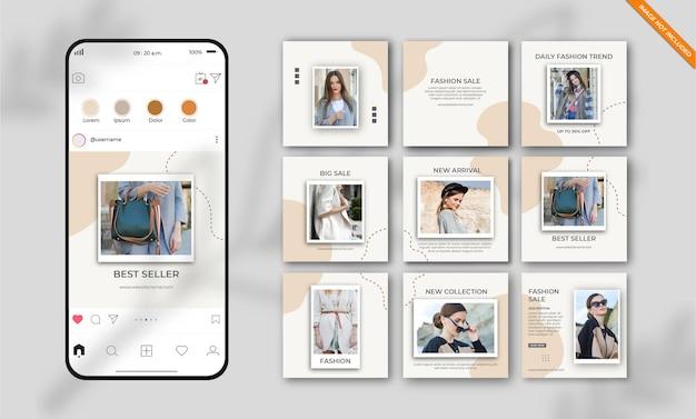 Conjunto de modelos de postagem de mídia social minimalista