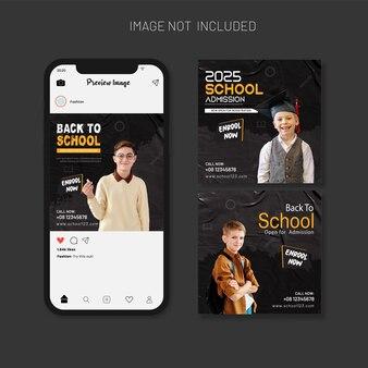 Conjunto de modelos de postagem em mídia social para admissão escolar