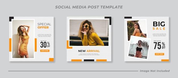 Conjunto de modelos de postagem em mídia social para venda de moda