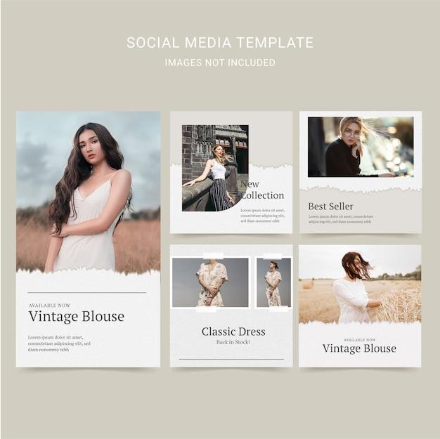Conjunto de modelos de postagem em mídia social