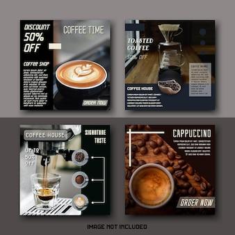 Conjunto de modelos de postagens de mídia social moderna bebida café