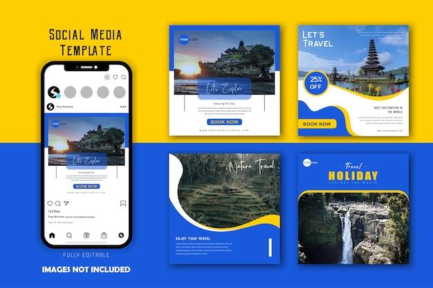Conjunto de modelos de postagens de mídia social para viagens e férias em azul amarelo