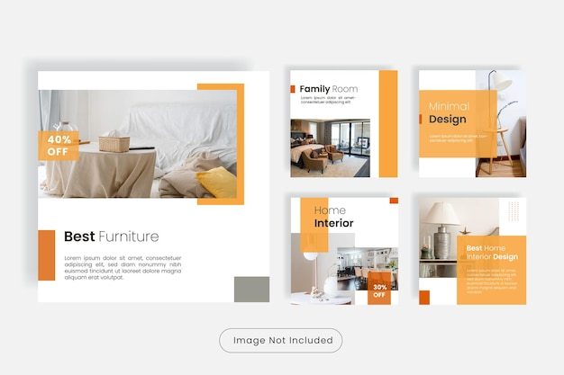Conjunto de modelos de postagens do instagram para móveis para casa