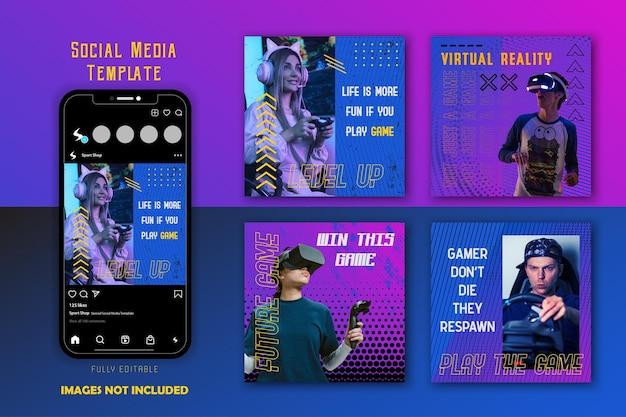 Conjunto de modelos de postagens em redes sociais para jogos de gradiente azul e roxo, equipe esport