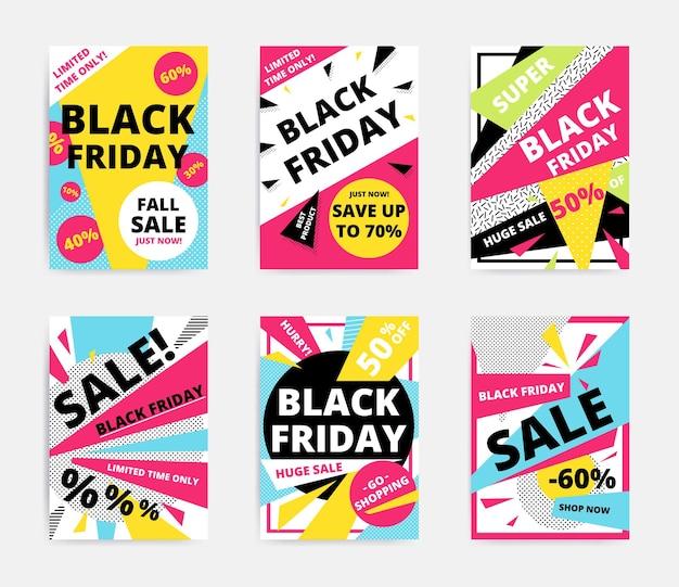 Conjunto de modelos de pôster de venda de sexta-feira negra desenho vetorial colorido brilhante
