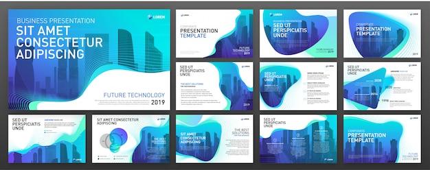 Conjunto de modelos de powerpoint de apresentação de negócios