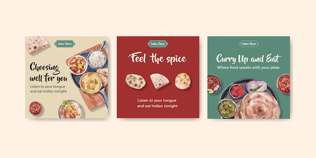 Conjunto de modelos de publicidade com comida indiana