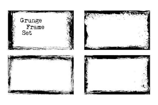 Conjunto de modelos de quadro de grunge de vetor gasto e sujo. ilustração vetorial
