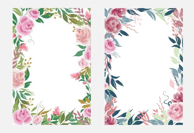 Conjunto de modelos de quadros florais com flores rosas e folhas