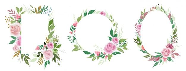 Conjunto de modelos de quadros florais de vetor com flores rosas e folhas