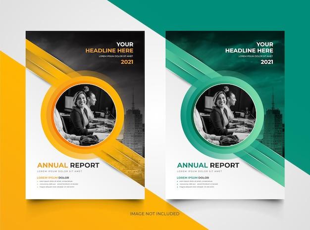 Conjunto de modelos de relatório anual de negócios elegantes e modernos
