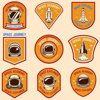 Conjunto de modelos de rótulo de acampamento espacial.