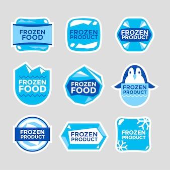 Conjunto de modelos de rótulos ilustrações desenhadas à mão de produtos de alimentos congelados