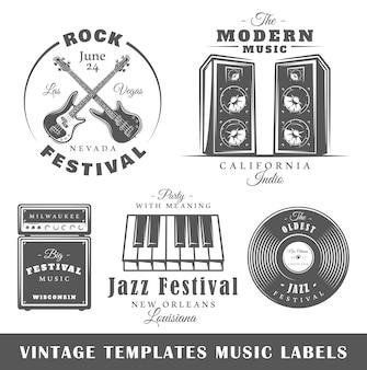 Conjunto de modelos de rótulos musicais vintage