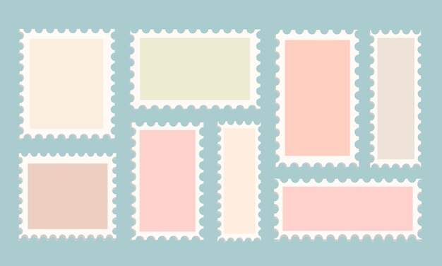 Conjunto de modelos de selo postal em fundo isolado. selos adoráveis para um korvert de diferentes cores e formas. ilustração conservada em estoque de um modelo perfurado para cartão postal e design.