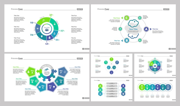 Conjunto de modelos de sete setas de negócios
