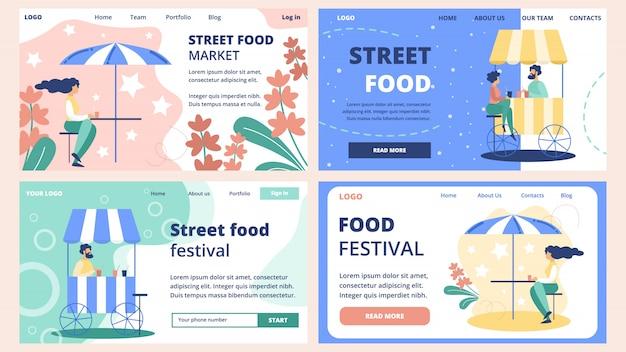 Conjunto de modelos de site de mercado de comida de rua