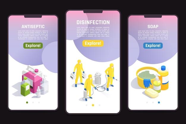 Conjunto de modelos de sites para celular com produtos para ilustração de higienização e desinfecção