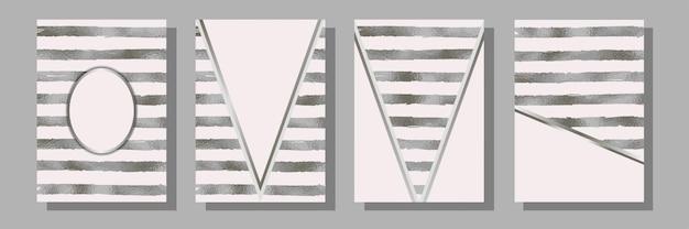 Conjunto de modelos de tarja de papel alumínio para cartões comemorativos e capas