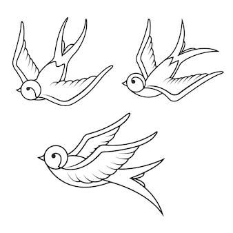 Conjunto de modelos de tatuagem de andorinha em fundo branco. ícones de pássaros