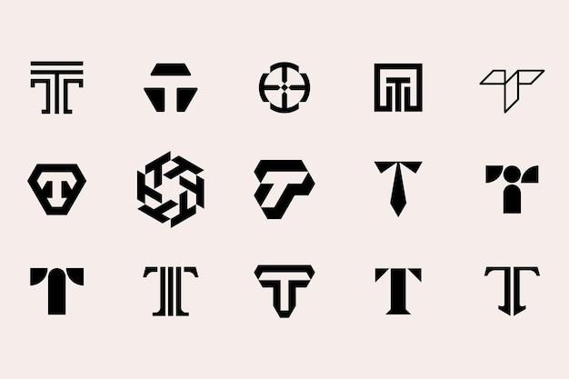 Conjunto de modelos de tipo de logotipo letra t
