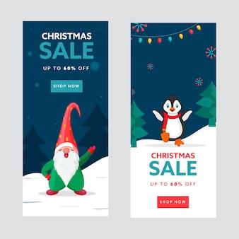 Conjunto de modelos de venda de natal ou banner vertical com oferta de desconto de 60%