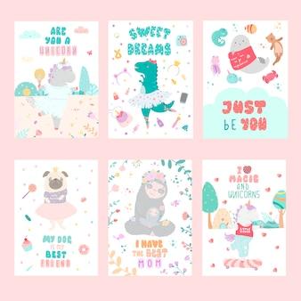 Conjunto de modelos de vetor de cartões postais de mão infantil desenhada.