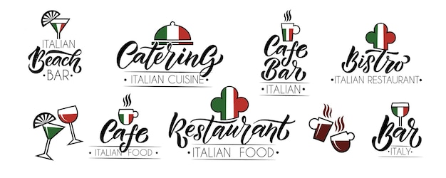Conjunto de modelos de vetor para catering bar café bistrô restaurante logo hand sketched logotype letteri