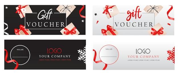 Conjunto de modelos de vouchers de luxo com laços e caixas de presente