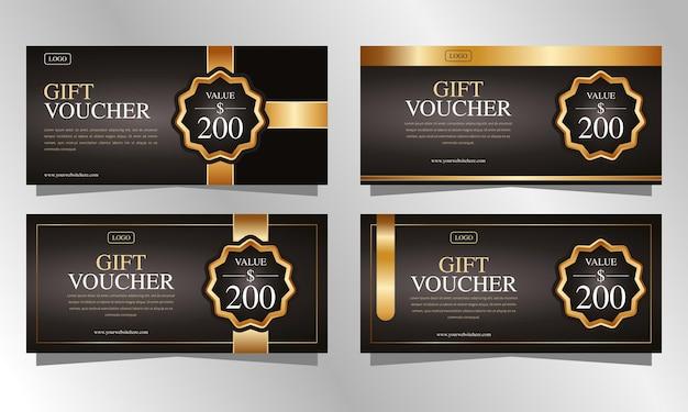 Conjunto de modelos de vouchers de presente de luxo marrom e dourado