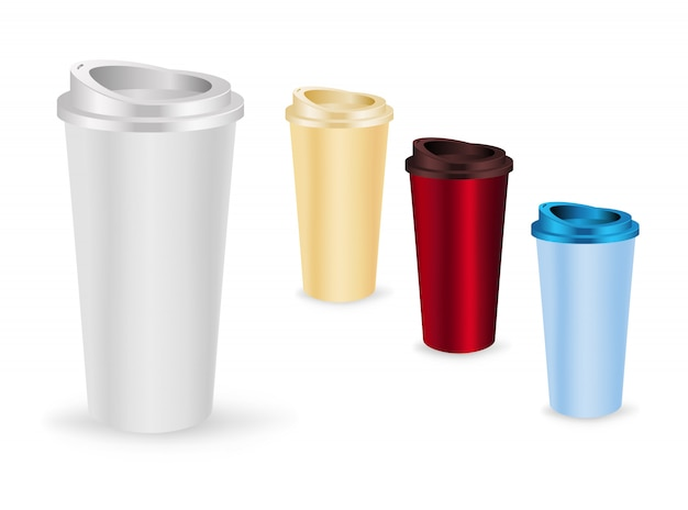 Conjunto de modelos de xícaras de café para viagem.