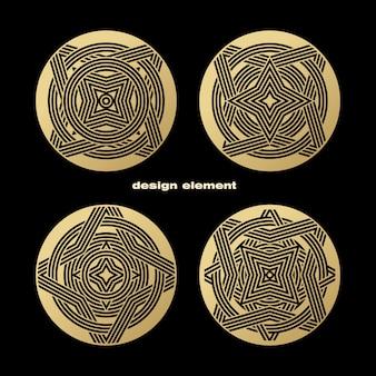 Conjunto de modelos decorativos para o logotipo.