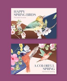 Conjunto de modelos do facebook com pássaros e conceito de primavera