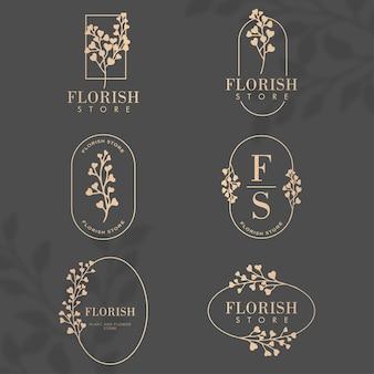 Conjunto de modelos editáveis de logotipo de moldura botânica floral luxuosa