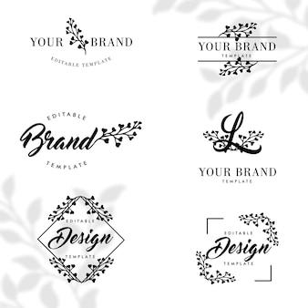 Conjunto de modelos editáveis de logotipo de quadro botânico de natureza floral simples