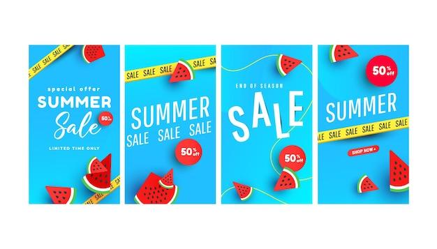 Conjunto de modelos editáveis de promoção de verão quente com elementos e formas de melancia fatiada tropical