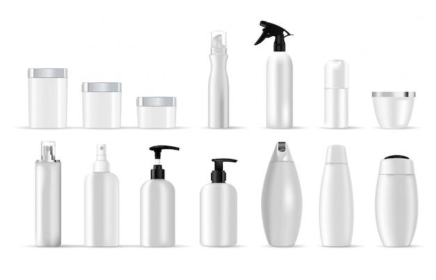 Conjunto de modelos em branco do vetor de recipientes de plástico branco
