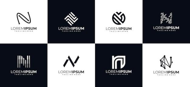 Conjunto de modelos iniciais de design de logotipo com letra n monograma